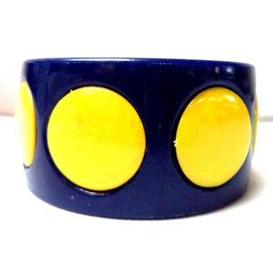 vintage wide polkadot cuff bracelet yellow blue